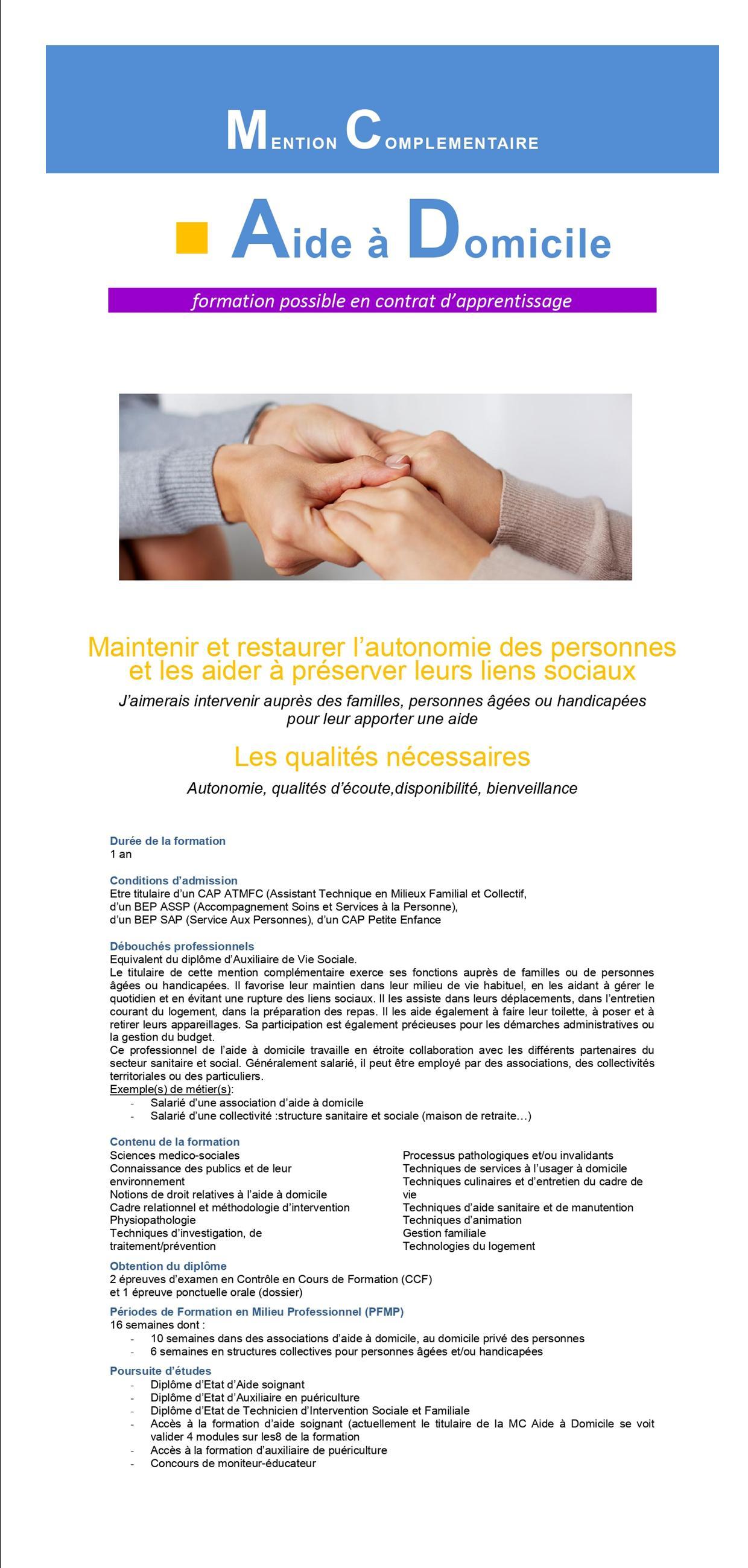 Mention Complémentaire Aide à Domicile  Lycée Francois Rabelais